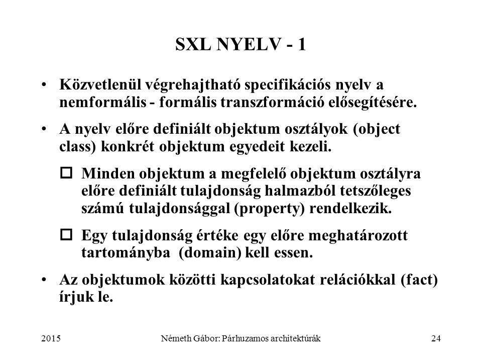 2015Németh Gábor: Párhuzamos architektúrák24 SXL NYELV - 1 Közvetlenül végrehajtható specifikációs nyelv a nemformális - formális transzformáció elősegítésére.