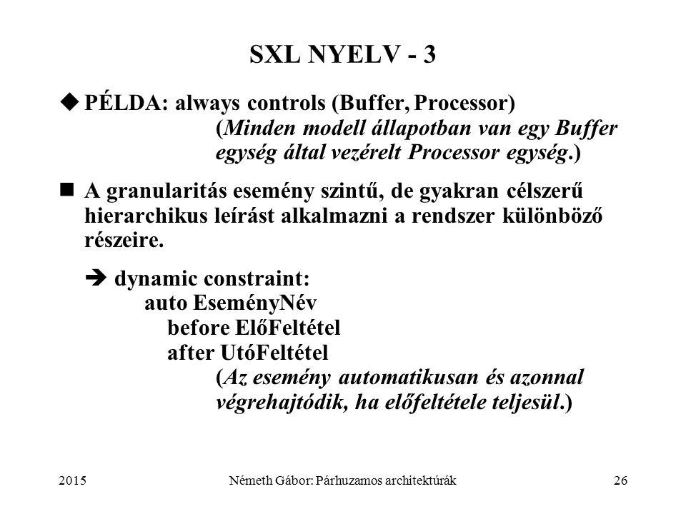2015Németh Gábor: Párhuzamos architektúrák26 SXL NYELV - 3  PÉLDA: always controls (Buffer, Processor)  (Minden modell állapotban van egy Buffer egység által vezérelt Processor egység.) A granularitás esemény szintű, de gyakran célszerű hierarchikus leírást alkalmazni a rendszer különböző részeire.