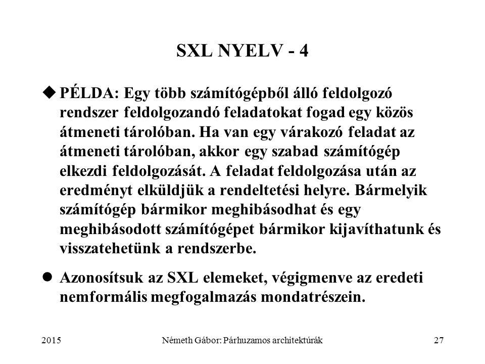2015Németh Gábor: Párhuzamos architektúrák27 SXL NYELV - 4  PÉLDA: Egy több számítógépből álló feldolgozó rendszer feldolgozandó feladatokat fogad egy közös átmeneti tárolóban.