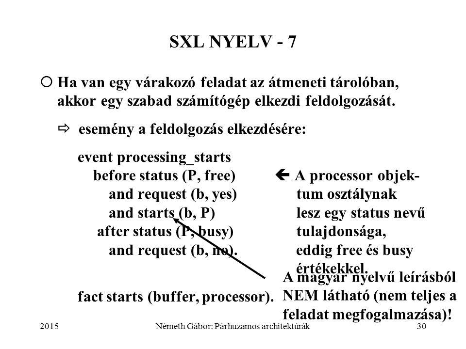 2015Németh Gábor: Párhuzamos architektúrák30 SXL NYELV - 7  Ha van egy várakozó feladat az átmeneti tárolóban, akkor egy szabad számítógép elkezdi feldolgozását.