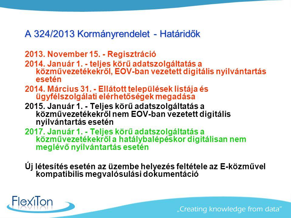 A 324/2013 Kormányrendelet - Határidők 2013. November 15. - Regisztráció 2014. Január 1. - teljes körű adatszolgáltatás a közművezetékekről, EOV-ban v