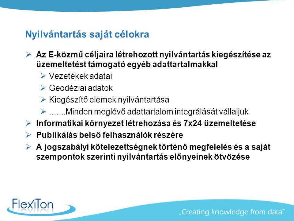 Nyilvántartás saját célokra  Az E-közmű céljaira létrehozott nyilvántartás kiegészítése az üzemeltetést támogató egyéb adattartalmakkal  Vezetékek a