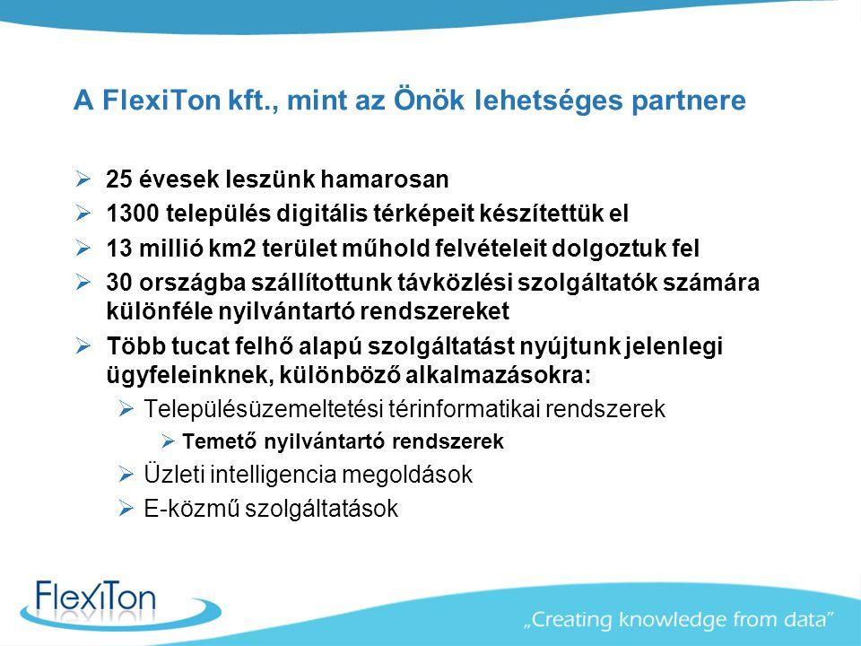 A FlexiTon kft., mint az Önök lehetséges partnere  25 évesek leszünk hamarosan  1300 település digitális térképeit készítettük el  13 millió km2 terület műhold felvételeit dolgoztuk fel  30 országba szállítottunk távközlési szolgáltatók számára különféle nyilvántartó rendszereket  Több tucat felhő alapú szolgáltatást nyújtunk jelenlegi ügyfeleinknek, különböző alkalmazásokra:  Településüzemeltetési térinformatikai rendszerek  Temető nyilvántartó rendszerek  Üzleti intelligencia megoldások  E-közmű szolgáltatások