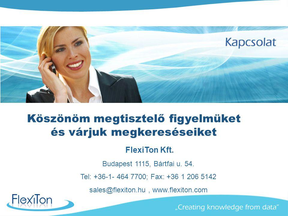 FlexiTon Kft. Budapest 1115, Bártfai u. 54. Tel: +36-1- 464 7700; Fax: +36 1 206 5142 sales@flexiton.hu, www.flexiton.com Köszönöm megtisztelő figyelm
