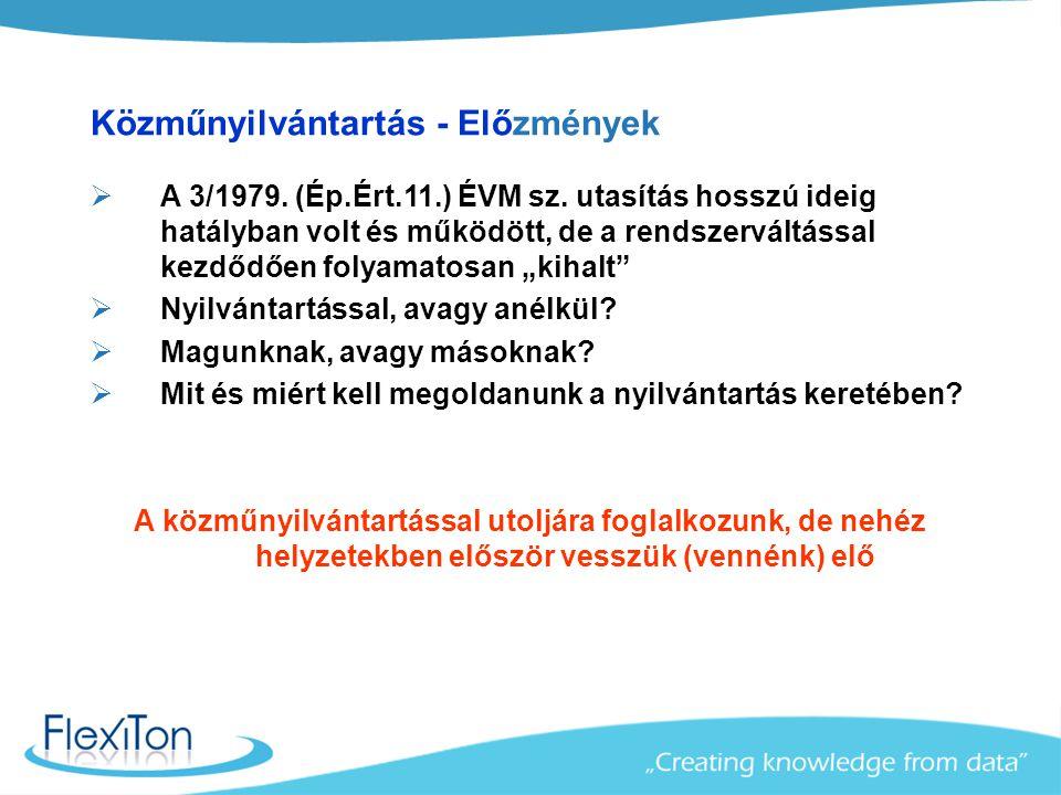 Közműnyilvántartás - Előzmények  A 3/1979.(Ép.Ért.11.) ÉVM sz.