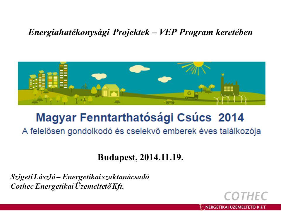 Energiahatékonysági Projektek – VEP Program keretében Budapest, 2014.11.19.