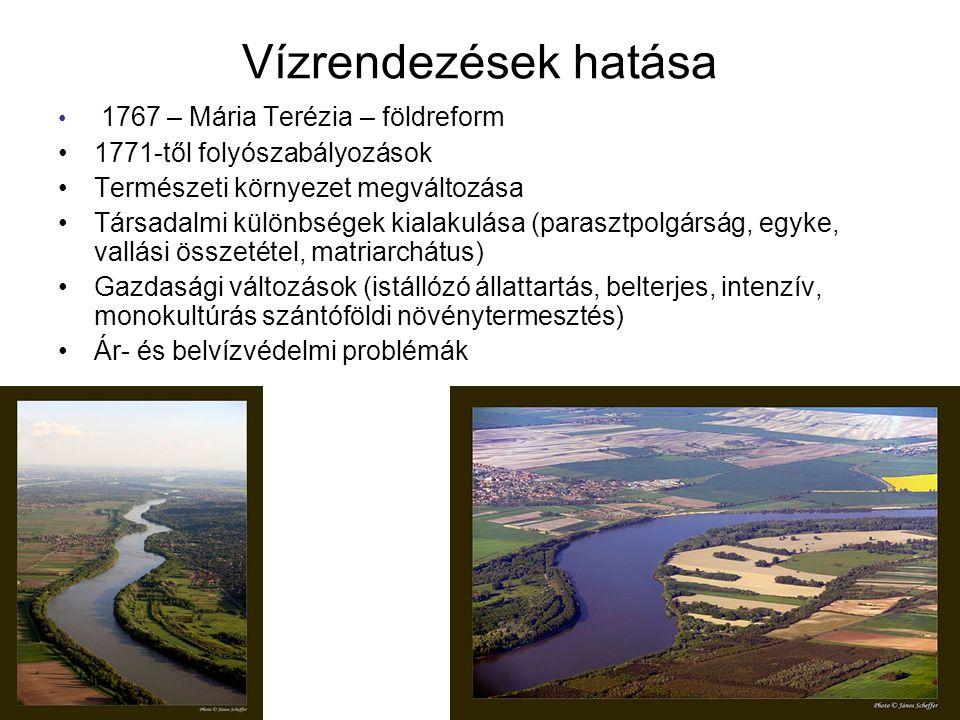 Vízrendezések hatása 1767 – Mária Terézia – földreform 1771-től folyószabályozások Természeti környezet megváltozása Társadalmi különbségek kialakulása (parasztpolgárság, egyke, vallási összetétel, matriarchátus) Gazdasági változások (istállózó állattartás, belterjes, intenzív, monokultúrás szántóföldi növénytermesztés) Ár- és belvízvédelmi problémák