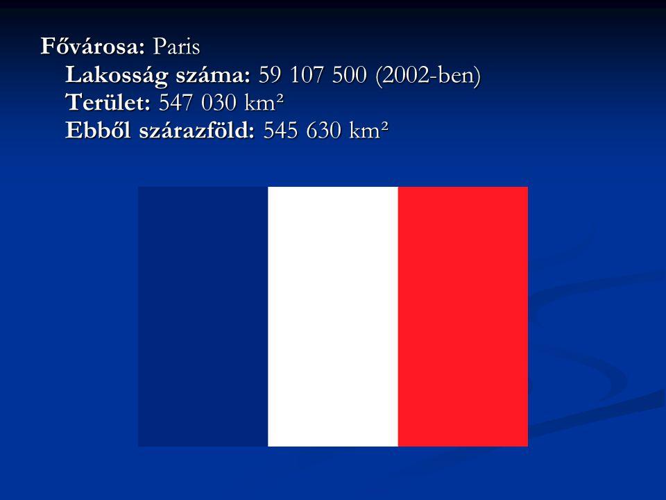 Fővárosa: Paris Lakosság száma: 59 107 500 (2002-ben) Terület: 547 030 km² Ebből szárazföld: 545 630 km²