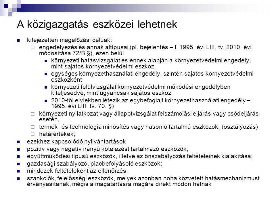 A közigazgatás eszközei lehetnek kifejezetten megelőzési célúak:  engedélyezés és annak altípusai (pl. bejelentés – l. 1995. évi LIII. tv. 2010. évi