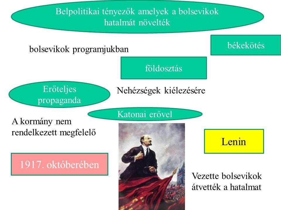 1917. októberében földosztás békekötés Belpolitikai tényezők amelyek a bolsevikok hatalmát növelték bolsevikok programjukban Lenin A kormány nem rende