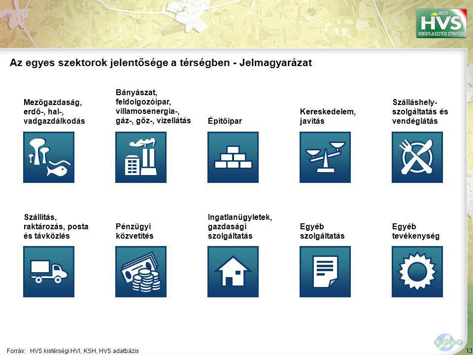 13 Forrás:HVS kistérségi HVI, KSH, HVS adatbázis Az egyes szektorok jelentősége a térségben - Jelmagyarázat Mezőgazdaság, erdő-, hal-, vadgazdálkodás Bányászat, feldolgozóipar, villamosenergia-, gáz-, gőz-, vízellátás Építőipar Kereskedelem, javítás Szálláshely- szolgáltatás és vendéglátás Szállítás, raktározás, posta és távközlés Pénzügyi közvetítés Ingatlanügyletek, gazdasági szolgáltatás Egyéb szolgáltatás Egyéb tevékenység