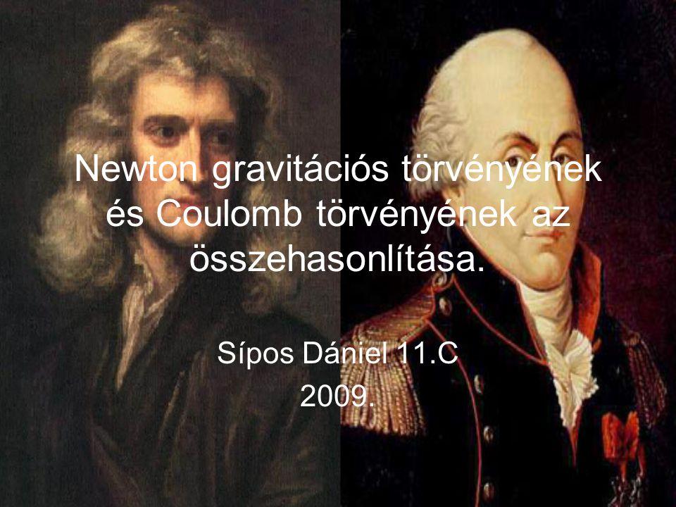 Newton gravitációs törvényének és Coulomb törvényének az összehasonlítása. Sípos Dániel 11.C 2009.