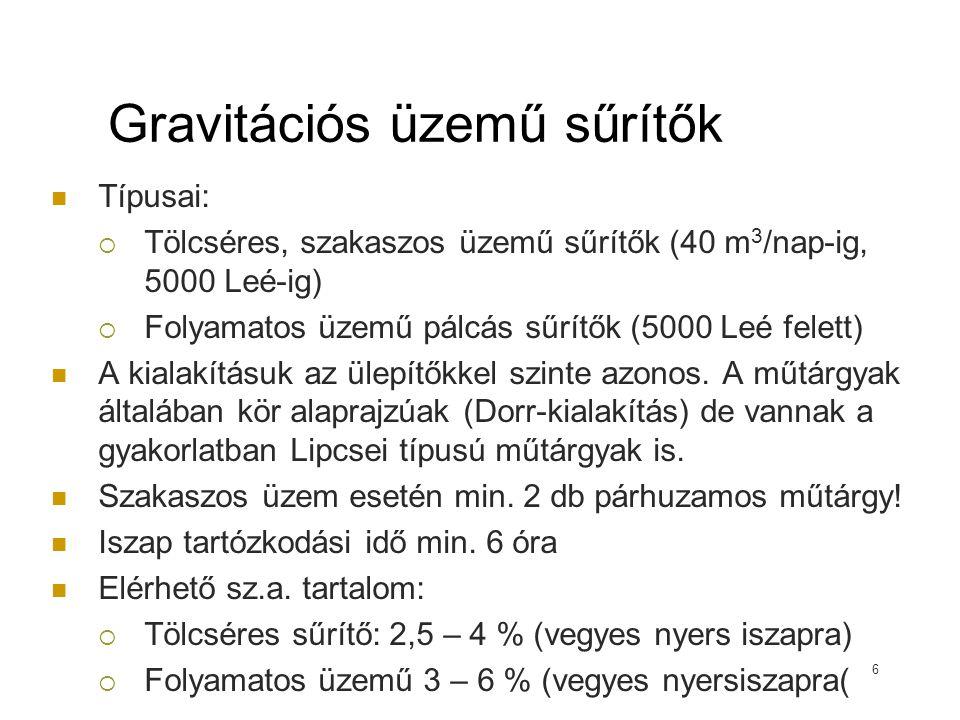 Gravitációs sűrítő méretezése 17