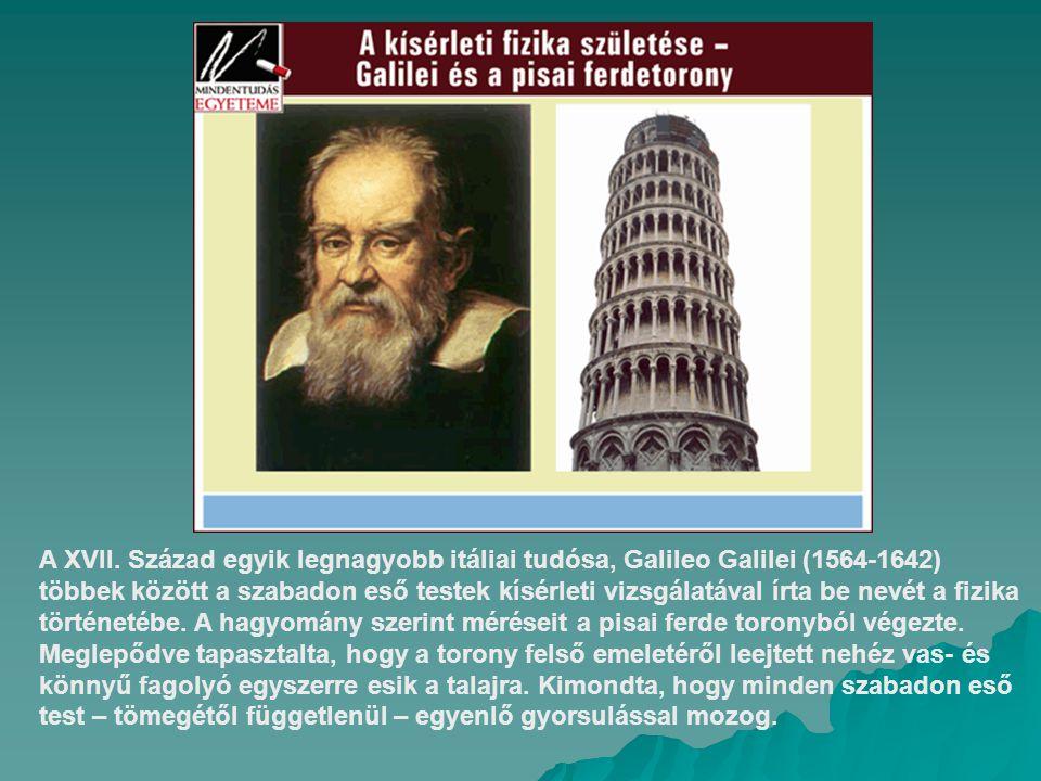A XVII. Század egyik legnagyobb itáliai tudósa, Galileo Galilei (1564-1642) többek között a szabadon eső testek kísérleti vizsgálatával írta be nevét
