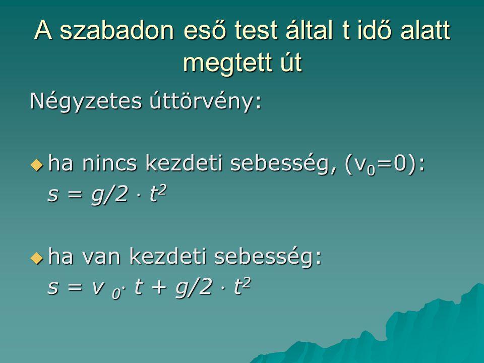 A szabadon eső test által t idő alatt megtett út Négyzetes úttörvény:  ha nincs kezdeti sebesség, (v 0 =0): s = g/2 ⋅ t 2  ha van kezdeti sebesség: