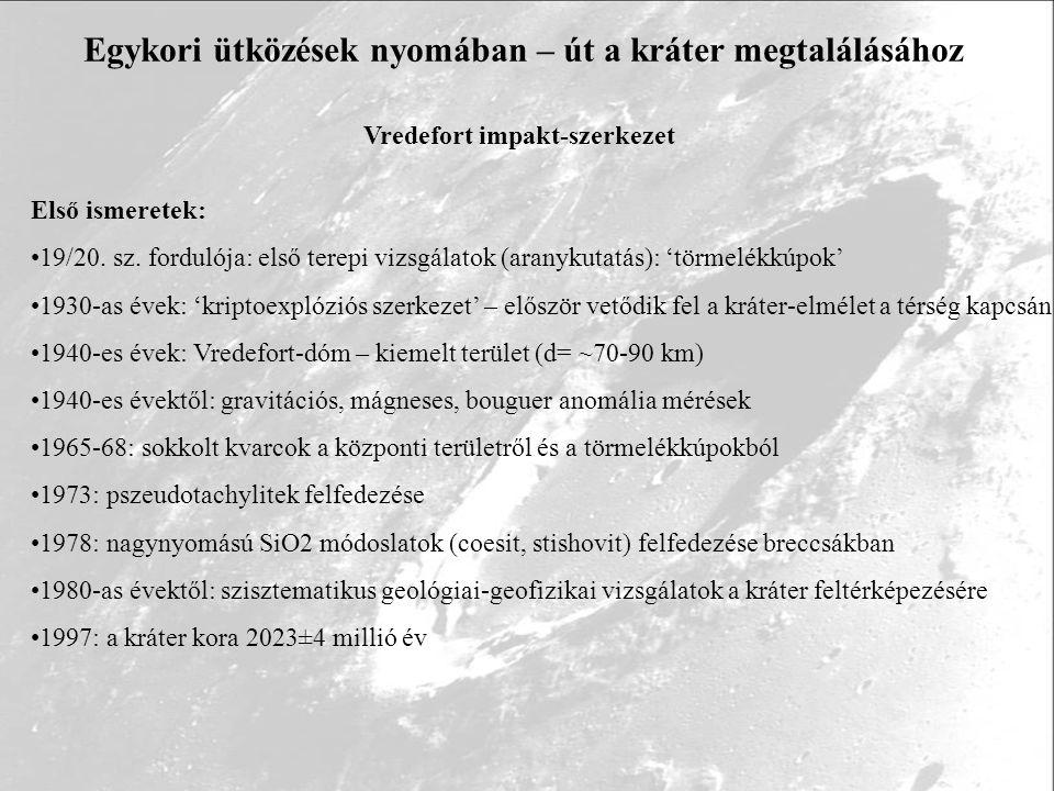 Egykori ütközések nyomában – út a kráter megtalálásához Vredefort impakt-szerkezet Első ismeretek: 19/20. sz. fordulója: első terepi vizsgálatok (aran
