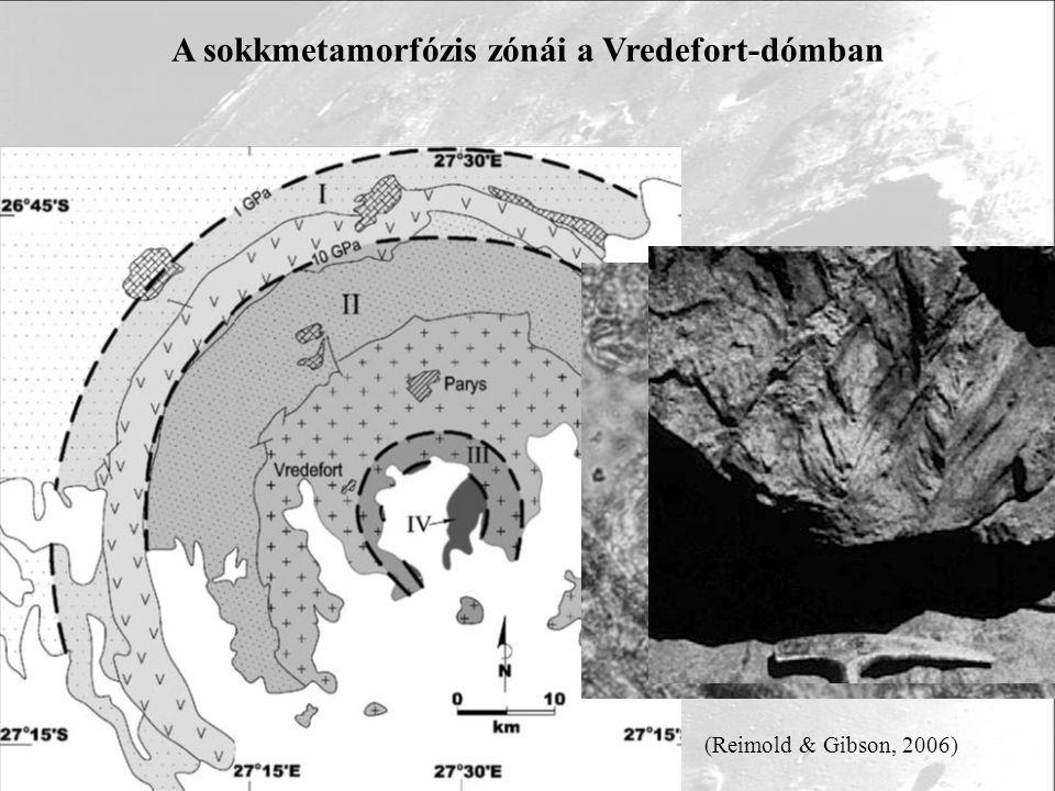 A sokkmetamorfózis zónái a Vredefort-dómban 1 mm 20 µm (Reimold & Gibson, 2006)