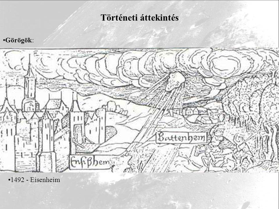 Történeti áttekintés Görögök: Arisztotelész - 'égi jelenségek' Rómaiak: Idősebb Plinius /23-79/ ír üstökösökről, meteorokról és meteorithullásról (De