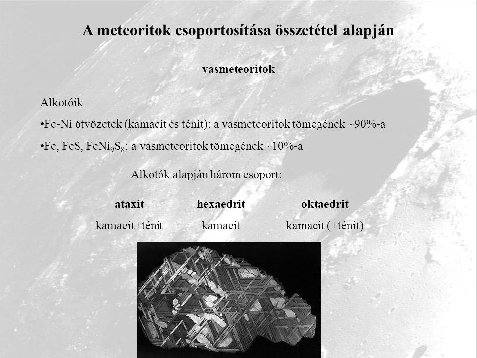 A meteoritok csoportosítása összetétel alapján vasmeteoritok ataxit kamacit+ténit hexaedrit kamacit oktaedrit kamacit (+ténit) Alkotóik Fe-Ni ötvözete
