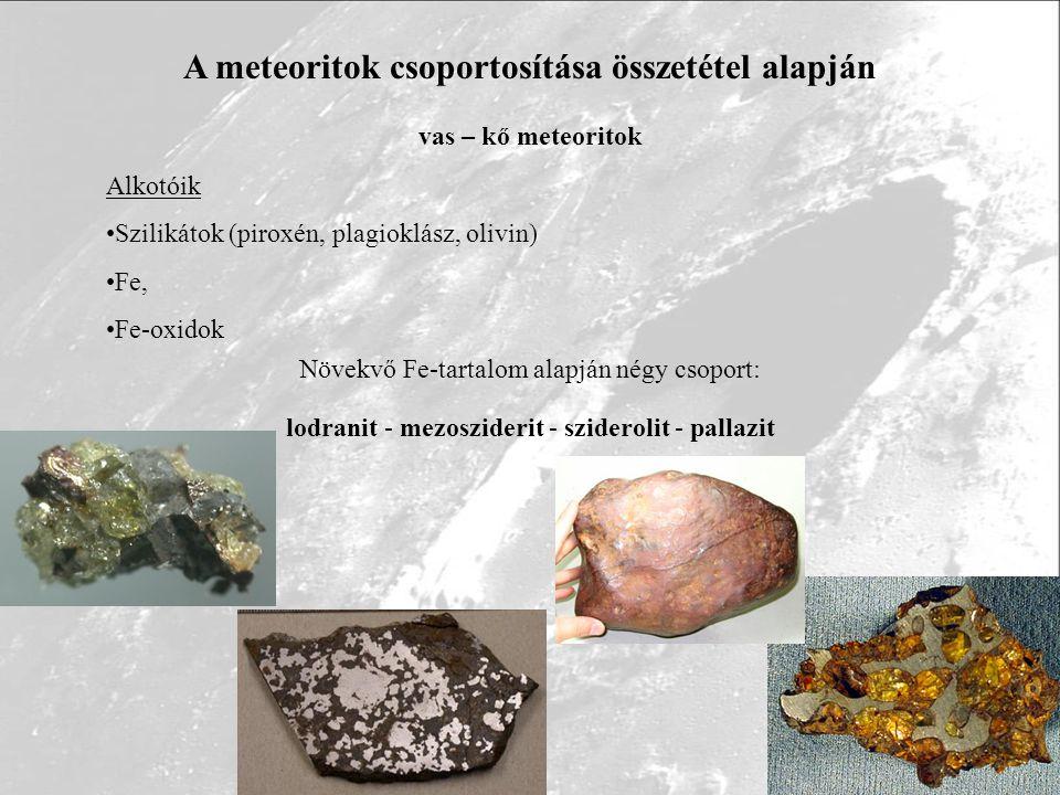 A meteoritok csoportosítása összetétel alapján kőmeteoritok kondritok szenes (C1-C3), amfoterit, olivin-hipersztén, olivin-bronzit, ensztatit akondritok Ca-szegény: augrit, eukrit, howardit Ca-gazdag: diogenit, aubrit, ureilit SNC: shergottit, nakhlit, chassignit