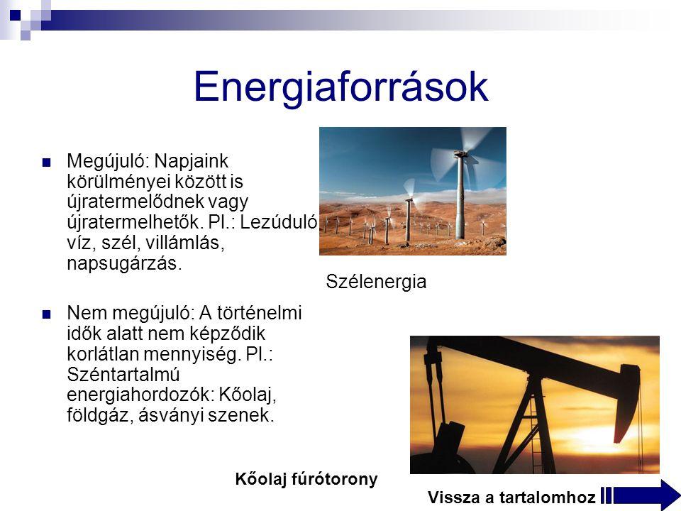 Energiaforrások Megújuló: Napjaink körülményei között is újratermelődnek vagy újratermelhetők.