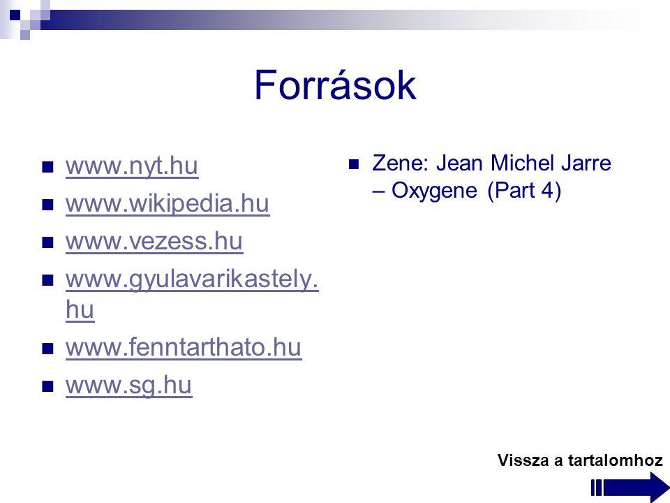 Források www.nyt.hu www.wikipedia.hu www.vezess.hu www.gyulavarikastely.
