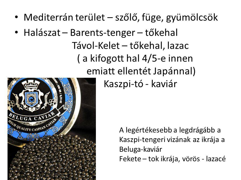 Mediterrán terület – szőlő, füge, gyümölcsök Halászat – Barents-tenger – tőkehal Távol-Kelet – tőkehal, lazac ( a kifogott hal 4/5-e innen emiatt elle