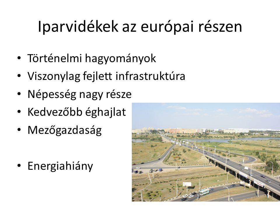 Iparvidékek az európai részen Történelmi hagyományok Viszonylag fejlett infrastruktúra Népesség nagy része Kedvezőbb éghajlat Mezőgazdaság Energiahián