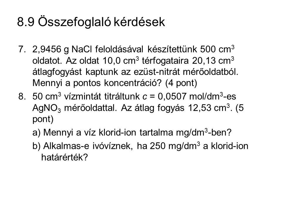 8.9 Összefoglaló kérdések 7.2,9456 g NaCl feloldásával készítettünk 500 cm 3 oldatot. Az oldat 10,0 cm 3 térfogataira 20,13 cm 3 átlagfogyást kaptunk