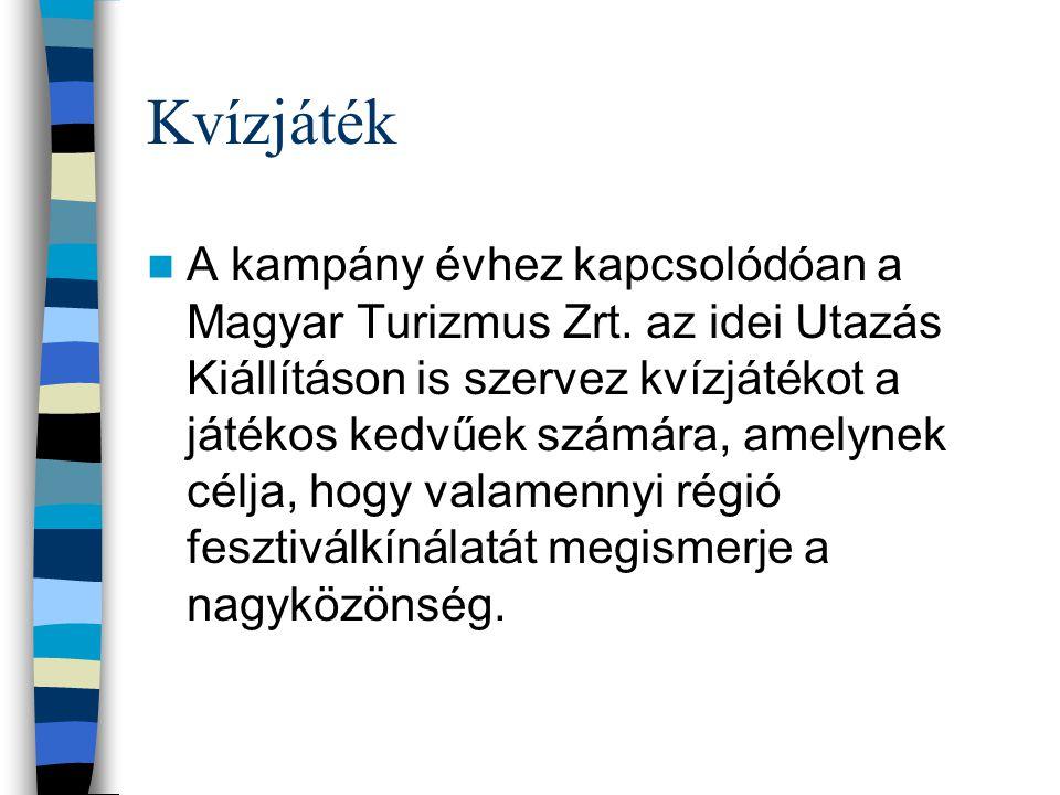 Kvízjáték A kampány évhez kapcsolódóan a Magyar Turizmus Zrt.