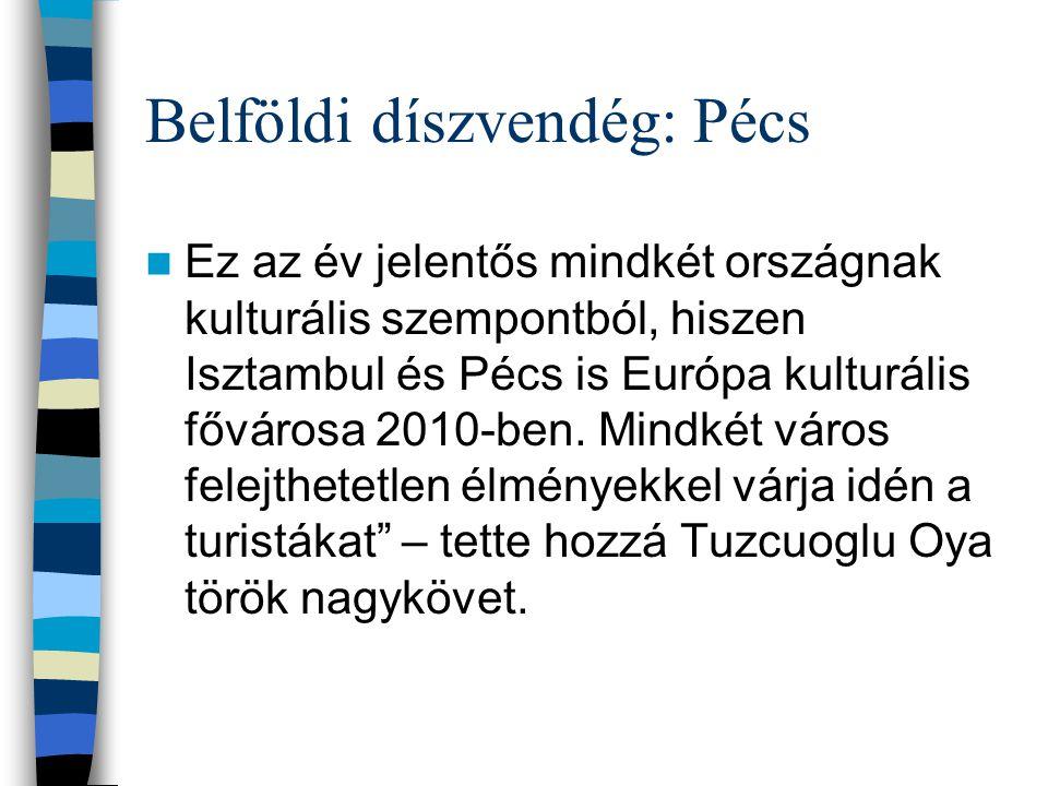 Belföldi díszvendég: Pécs Ez az év jelentős mindkét országnak kulturális szempontból, hiszen Isztambul és Pécs is Európa kulturális fővárosa 2010-ben.