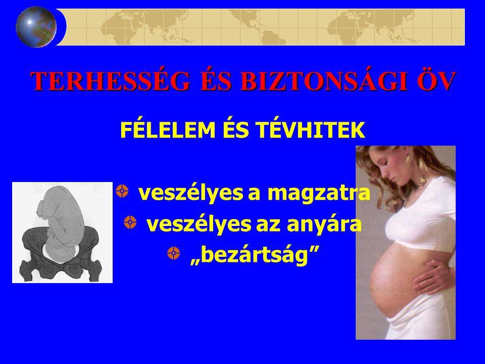 TERHESSÉG ÉS BIZTONSÁGI ÖV MAGZATI SÉRÜLÉS (1975 –1999) 7 eset 3 koponya törés 1 agysérülés 1 agy+hasi sérülés 1 stranguláció 1 placenta sérülés 27 eset 1 övvel összefüggésbe hozható halál