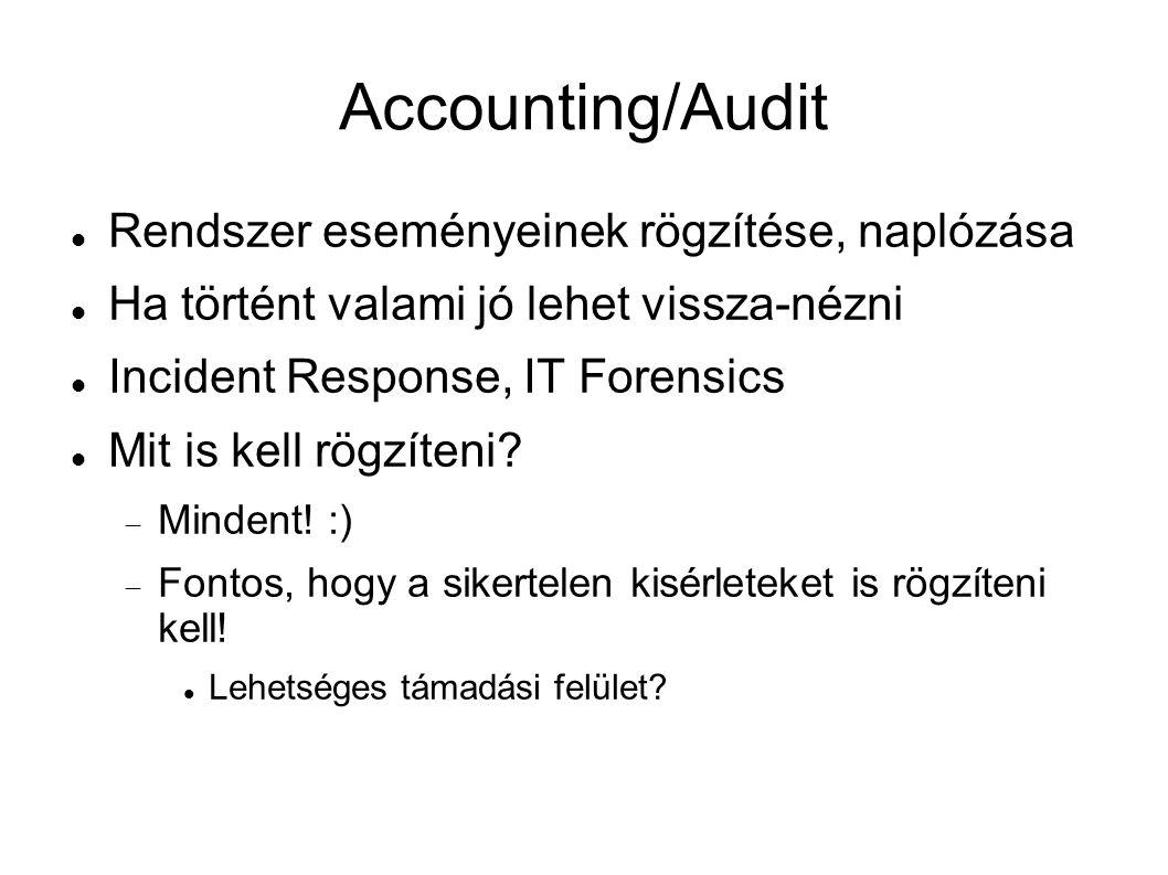 Accounting/Audit Rendszer eseményeinek rögzítése, naplózása Ha történt valami jó lehet vissza-nézni Incident Response, IT Forensics Mit is kell rögzíteni.