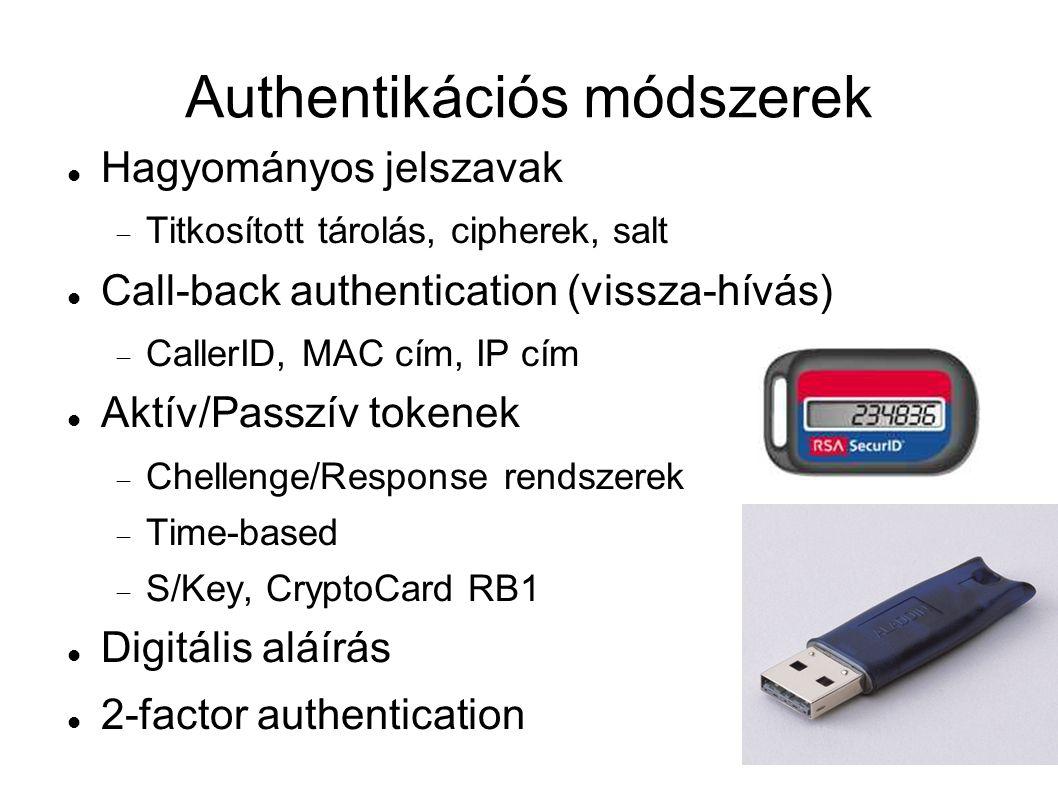Authentikációs módszerek Hagyományos jelszavak  Titkosított tárolás, cipherek, salt Call-back authentication (vissza-hívás)  CallerID, MAC cím, IP cím Aktív/Passzív tokenek  Chellenge/Response rendszerek  Time-based  S/Key, CryptoCard RB1 Digitális aláírás 2-factor authentication
