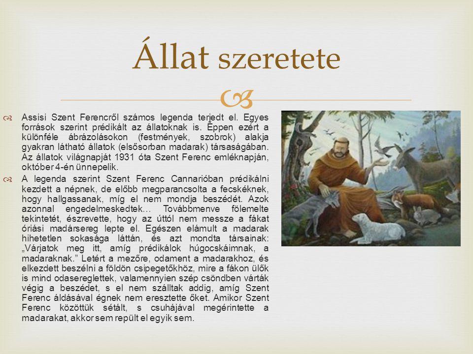   Assisi Szent Ferencről számos legenda terjedt el.