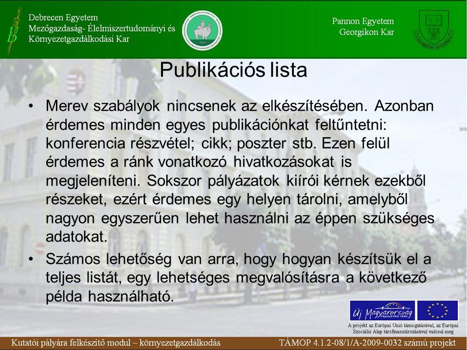 Publikációs lista Merev szabályok nincsenek az elkészítésében.