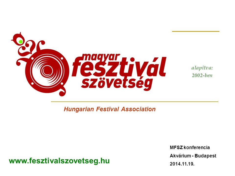 Hungarian Festival Association alapítva: 2002-ben www.fesztivalszovetseg.hu MFSZ konferencia Akvárium - Budapest 2014.11.19.