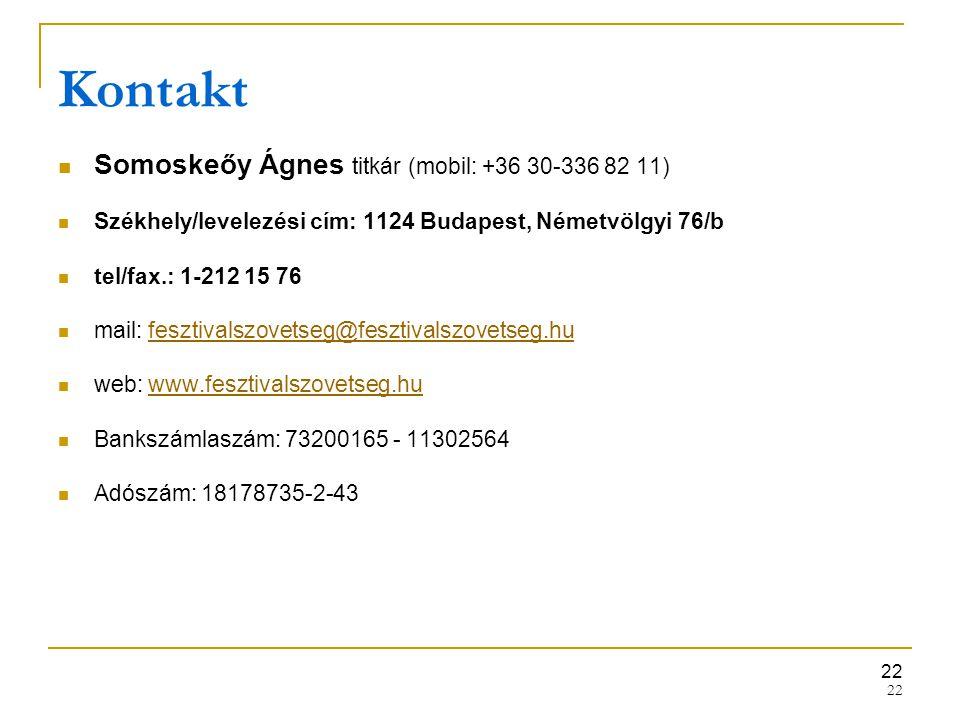 22 Kontakt Somoskeőy Ágnes titkár (mobil: +36 30-336 82 11) Székhely/levelezési cím: 1124 Budapest, Németvölgyi 76/b tel/fax.: 1-212 15 76 mail: feszt