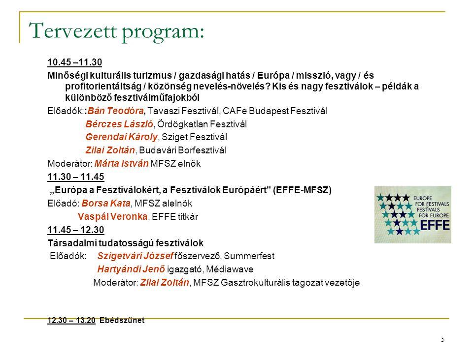5 Tervezett program: 10.45 –11.30 Minőségi kulturális turizmus / gazdasági hatás / Európa / misszió, vagy / és profitorientáltság / közönség nevelés-n