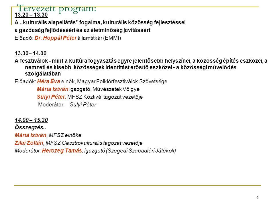 """6 Tervezett program: 13.20 – 13.30 A """"kulturális alapellátás"""" fogalma, kulturális közösség fejlesztéssel a gazdaság fejlődéséért és az életminőség jav"""