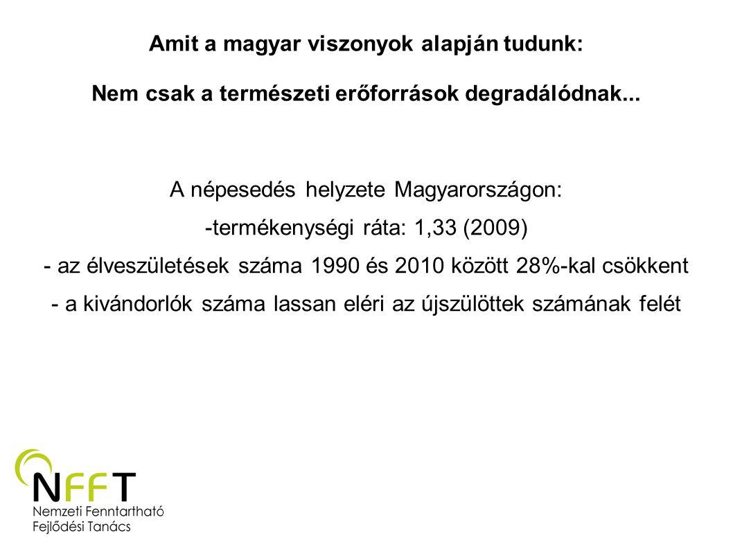 Amit a magyar viszonyok alapján tudunk: Nem csak a természeti erőforrások degradálódnak... A népesedés helyzete Magyarországon: -termékenységi ráta: 1