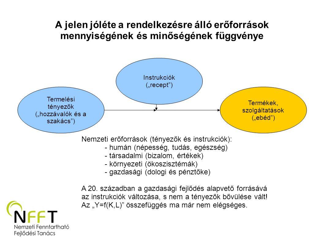 """A jelen jóléte a rendelkezésre álló erőforrások mennyiségének és minőségének függvénye Termelési tényezők (""""hozzávalók és a szakács"""") Instrukciók (""""re"""