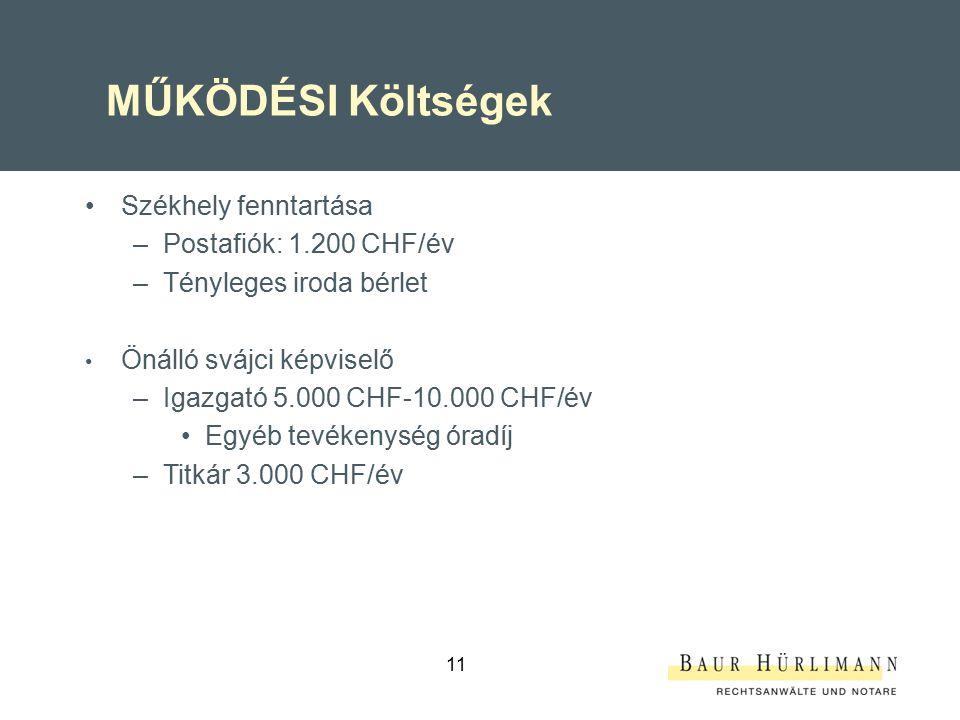 11 MŰKÖDÉSI Költségek Székhely fenntartása –Postafiók: 1.200 CHF/év –Tényleges iroda bérlet Önálló svájci képviselő –Igazgató 5.000 CHF-10.000 CHF/év