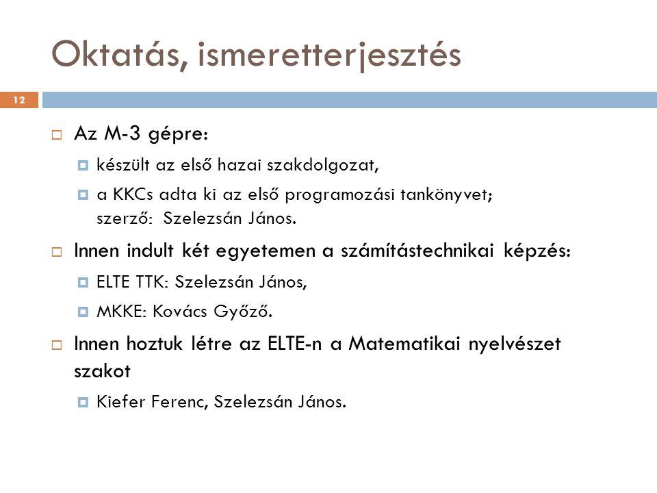 Oktatás, ismeretterjesztés  Az M-3 gépre:  készült az első hazai szakdolgozat,  a KKCs adta ki az első programozási tankönyvet; szerző: Szelezsán János.