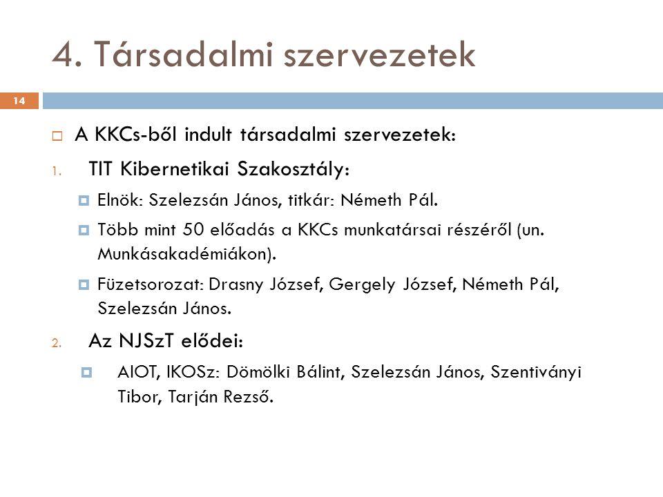 4. Társadalmi szervezetek  A KKCs-ből indult társadalmi szervezetek: 1.
