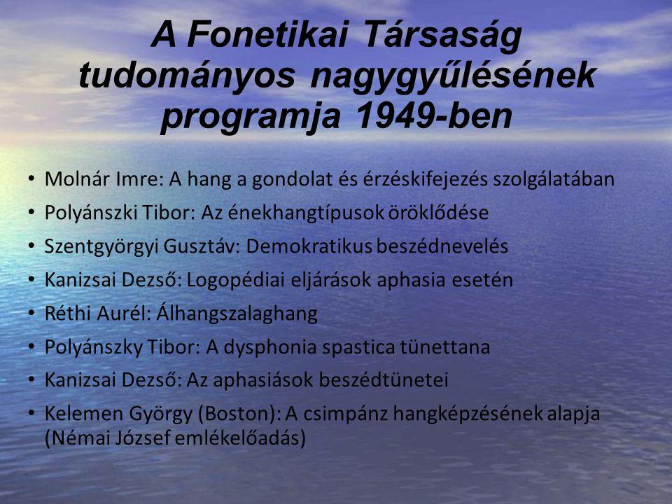 A Fonetikai Társaság tudományos nagygyűlésének programja 1949-ben Molnár Imre: A hang a gondolat és érzéskifejezés szolgálatában Polyánszki Tibor: Az
