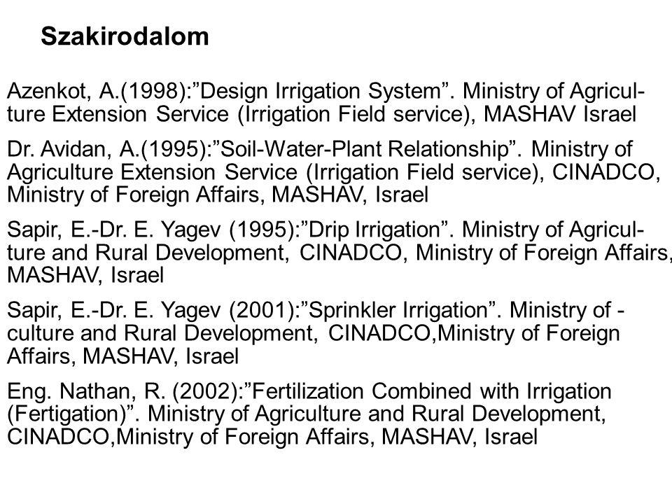 Szakirodalom Azenkot, A.(1998): Design Irrigation System .
