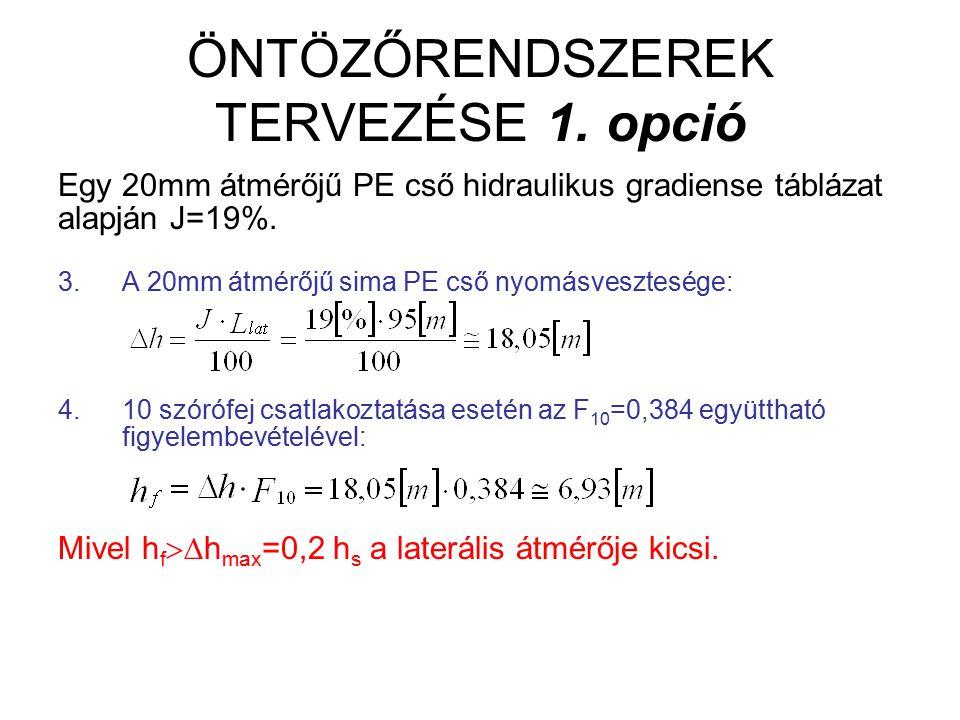 ÖNTÖZŐRENDSZEREK TERVEZÉSE 1. opció Egy 20mm átmérőjű PE cső hidraulikus gradiense táblázat alapján J=19%. 3.A 20mm átmérőjű sima PE cső nyomásvesztes