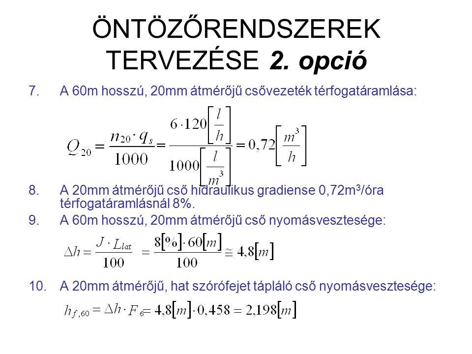ÖNTÖZŐRENDSZEREK TERVEZÉSE 2. opció 7.A 60m hosszú, 20mm átmérőjű csővezeték térfogatáramlása: 8.A 20mm átmérőjű cső hidraulikus gradiense 0,72m 3 /ór