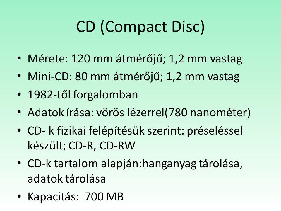 CD (Compact Disc) Mérete: 120 mm átmérőjű; 1,2 mm vastag Mini-CD: 80 mm átmérőjű; 1,2 mm vastag 1982-től forgalomban Adatok írása: vörös lézerrel(780 nanométer) CD- k fizikai felépítésük szerint: préseléssel készült; CD-R, CD-RW CD-k tartalom alapján:hanganyag tárolása, adatok tárolása Kapacitás: 700 MB